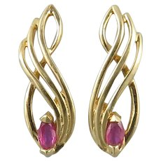 14K Sparkling Ruby and Swirling Gold Earrings