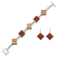 Red Jasper and Red Malachite Sterling Silver Panel Bracelet and Earrings Set