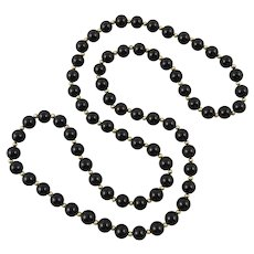 14K Gold and Classic Black Onyx Bead Long Strand Necklace 30.5 Inches