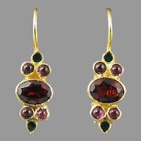 Garnet and Enamel 18K Vermeil Earrings