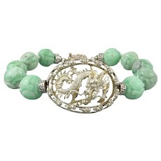 Chinese Carved Jade Bead and Sterling Silver Dragon Bracelet