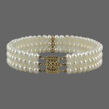 Gorgeous 14K 3 Strand Cultured Pearl Bracelet