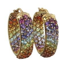 Sparkling Rainbow Gemstone Wide Chunky Hoop Earrings in 18K Vermeil