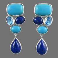 Lapis Turquoise and Blue Topaz Showstopping Dangle Earrings