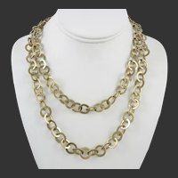 Sparkly Sterling Silver Vermeil Large Flat Link Necklace 38 Inches 58 Grams Silver