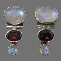 Moonstone and Garnet Door Knocker Sterling Silver Earrings