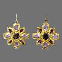 Bejeweled Starburst Gemstone and 18K Vermeil Dangle Earrings Amethyst and Garnet