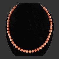 14K Natural Japanese Momo Coral Necklace Larger Beads 19 Inches