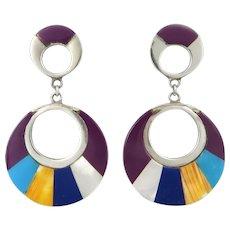 Big Colorful Inlaid Gemstone Hoop Dangle Sterling Silver Earrings
