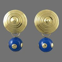 14K Domed Earring with Removable Blue Chalcedony and 14K Gold Polka Dot Charms