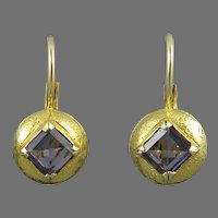 Blue Iolite and Brushed 18K Vermeil Lever Back earrings