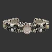 Large Multi Jeweled Sterling Silver Bracelet By Nicky Butler Blue and White Topaz | Rose Quartz | Smoky Quartz