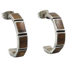 Sterling Silver Tiger Eye Agate Inlay Hoop Earrings