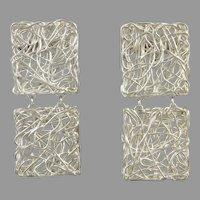 Modernist Square Sterling Silver Wire Mesh Door Knocker Earrings