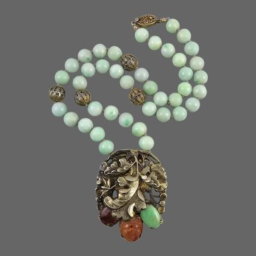 Chinese Art Deco Jadeite Jade | Tourmaline | Gilded Silver and Carved Carnelian Necklace 20 Inches