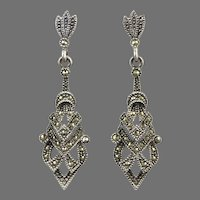 Marcasite and Sterling Silver Sparkling Architectural Dangle Earrings