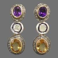 8.6ctw Diamond Amethyst and Citrine 3 Tier Dangle Earrings 14K and Sterling Silver