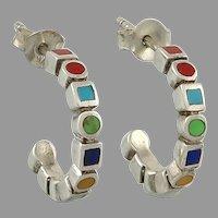 Colorful Inlaid Gemstone Sterling Silver Half Hoop Earrings