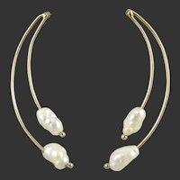 14K Freshwater Cultured Pearl Earrings