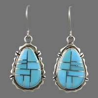 Navajo Inlaid Turquoise and Sterling Silver Dangle Earrings Signed