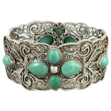 Chinese Turquoise and Sterling Silver Filigree Openwork Hinged Bracelet