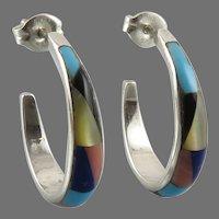 Multi Gemstone Inlay Sterling Silver Native American Earrings by Joe Corbet