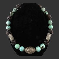 Chinese Turquoise   Carved Serpentine and Silver Dragon Bead Necklace 21 Inches