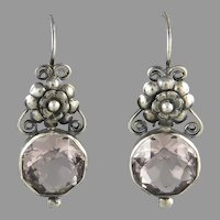 Sterling Silver Lavender Pink Crystal and Sterling Silver Earrings