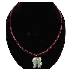 14K Ruby and Carved Jade Elephant Necklace 21 Inches