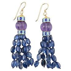 Kyanite and Amethyst Lantern Dangle Earrings 18K vermeil