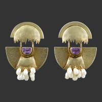 Amethyst Freshwater Cultured Pearl and Gilded Silver Hinged Modernist Earrings