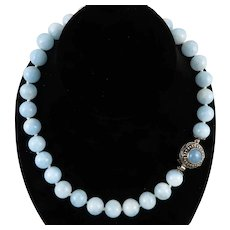 450ctw Chinese Large Aquamarine Bead Necklace with Matching Clasp 13mm Beads 18 Inches
