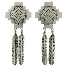 Vintage Native American Sterling Silver Double Feather Dangle Earrings