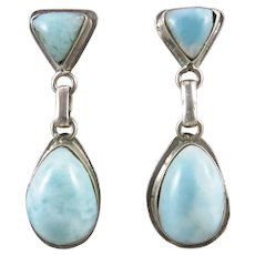 Large Larimar and Sterling Silver Dangle Earrings