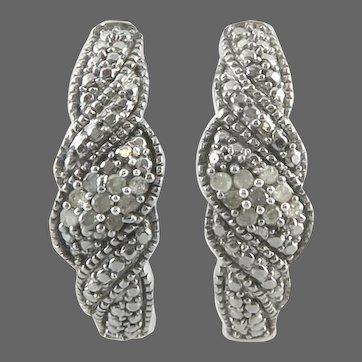 8KT White Gold and Diamond Earrings