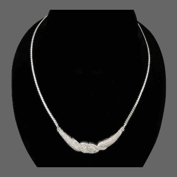 8KT White Gold and Diamond Necklace 18 Inches