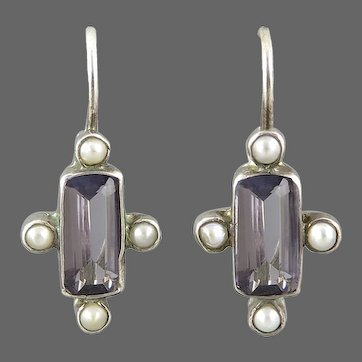 Ethereal Blue Iolite and Cultured Pearl Sterling Silver Lever Back Earrings