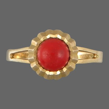 18K Gold and Red Coral Ring