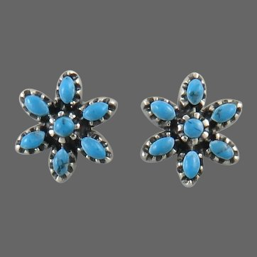 Turquoise and Sterling Silver Petit Point Style Earrings