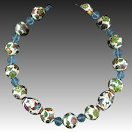Large Hand Enameled Chinese Bead and Peking Glass Necklace 22""