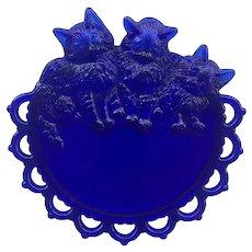 Vintage Westmoreland Glass Cobalt Blue Kittens Plate