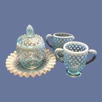 Vintage FENTON Glass Opalescent Blue Hobnail Marmalade, Creamer & Sugar