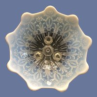HTF Northwood Pearl Flowers White Opalescent Footed Bowl c. 1904