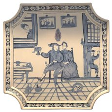 Rare Guelders Delft Holland Giant Tile with Nosy Neighbors