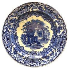 George Jones & Sons FLOW BLUE 1790 Abbey Pattern Plate