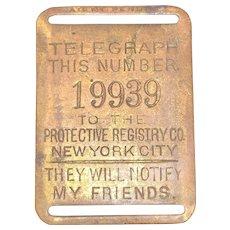 Rare Brass Fireman's Insurance Badge - Telegraph to New York City