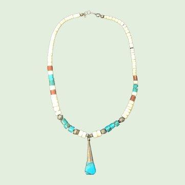 Navajo Turquoise, Argillite, and Sterling Silver Necklace Vintage