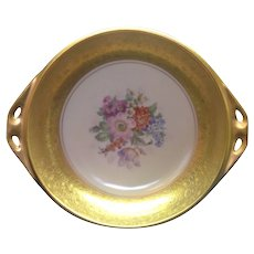 Gorgeous Pickard China Floral Bouquet with Gold Handled Dish