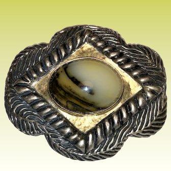 Sterling & 14K Gold Dian Malouf Santa Fe Pin / Brooch