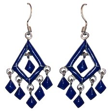 Stunning Sterling Lapis Lazuli Native American Drop Dangle Earrings